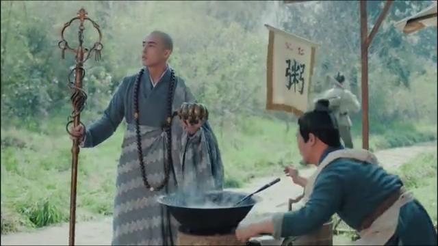 和尚前去问路谁想老板太热情了直接往紫金钵里盛了一勺饭粥