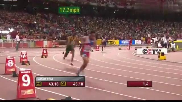迈克尔约翰逊解说范尼科克43.48北京世锦赛400m夺冠