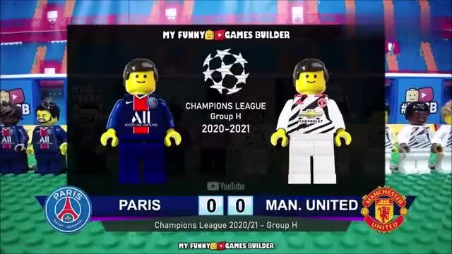 乐高足球,巴黎圣日耳曼PSG与曼联1-2,2021年欧洲冠军联赛