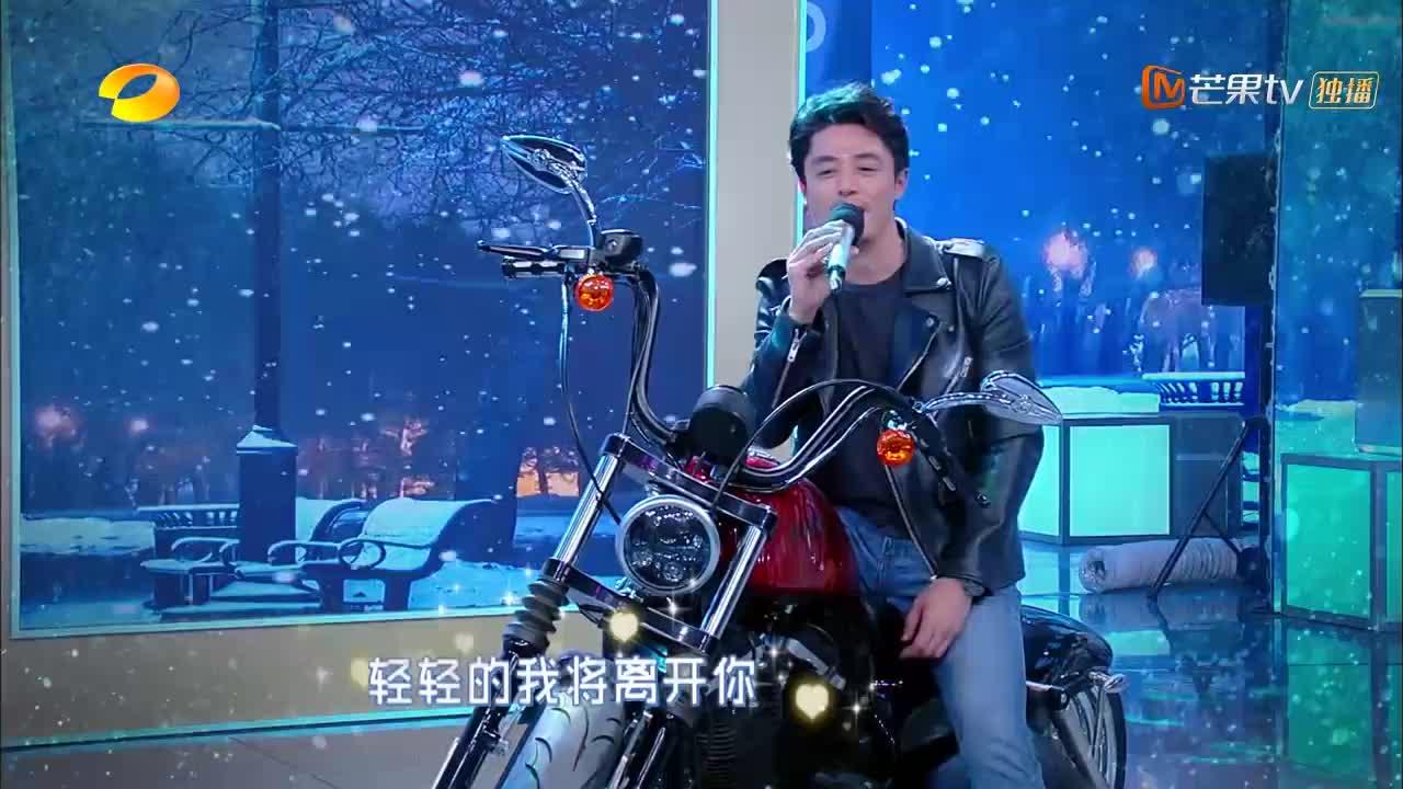 快本:霍建华皮衣骑摩托,深情演唱《大约在冬季》,酷到没朋友!