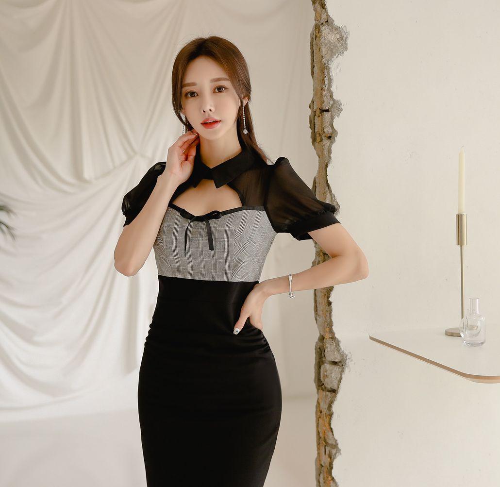孙允珠高清美图:朦胧黑釉浓雾哥特系带灯笼裙