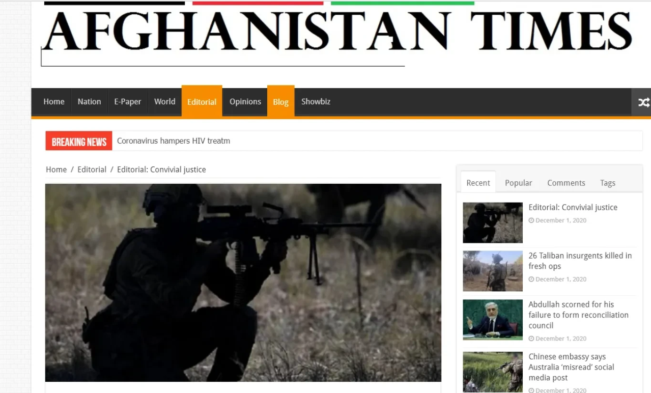阿富汗媒体如何看待澳大利亚士兵割喉儿童以及屠杀平民事件?