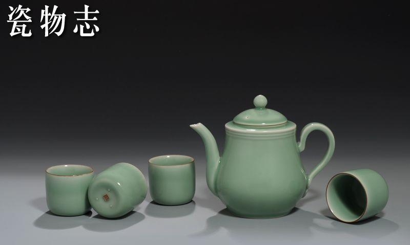 龙泉青瓷茶具套件龙泉弟窑梅子青釉蝉鸣凉壶