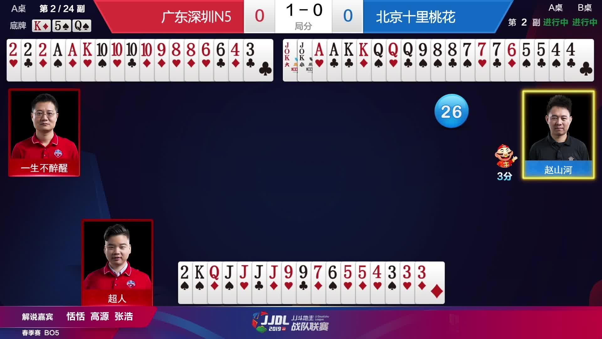 斗地主:JJJJ vs 10101010 vs 火箭 全屏炸弹血拼,这把牌分要爆