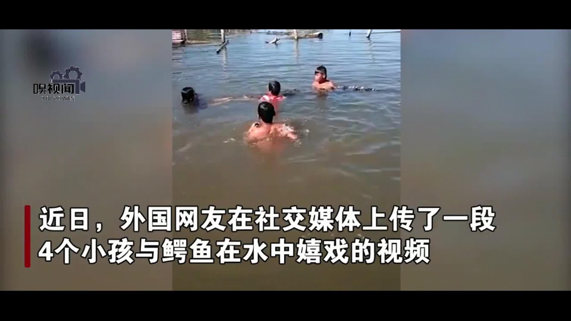马来西亚4孩童在水中与鳄鱼玩耍 家长一旁淡定拍视频