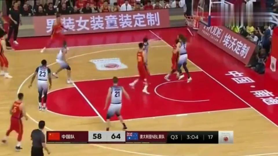 厉害!中国男篮vs澳大利亚联队,方硕单打后撤步命中!