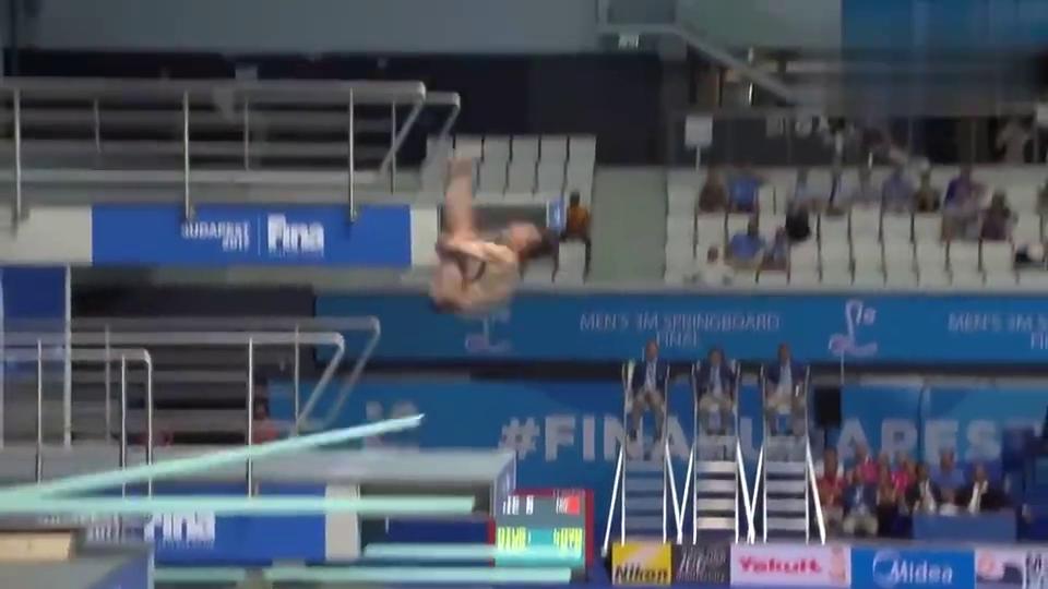 跳水回顾:拉开第二名21分,谢思埸又来完美一跳,不给活路啊!