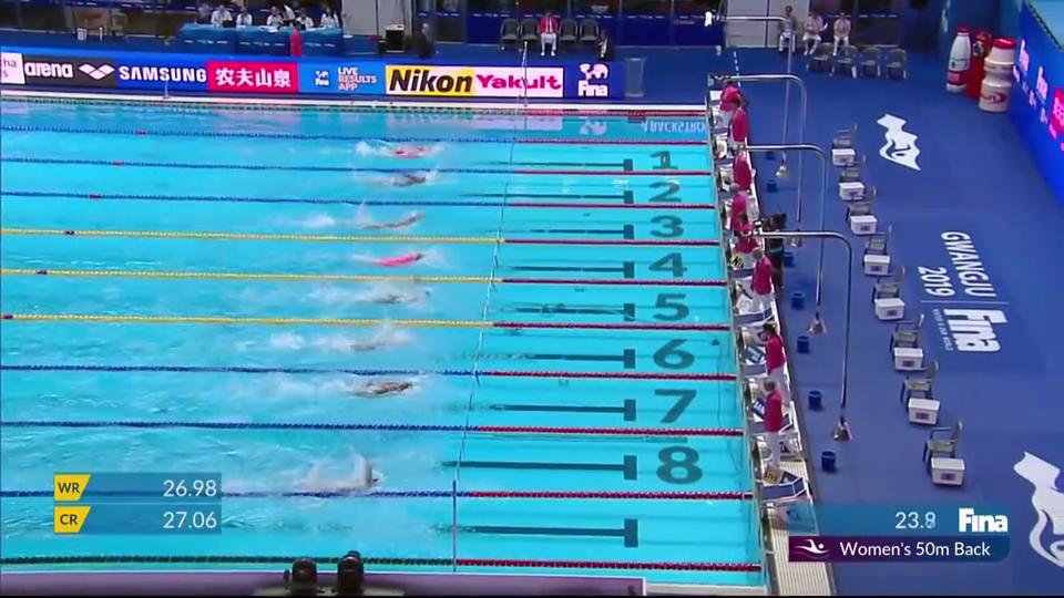 50米仰傅园慧半决赛获小组第四,贝克尔夺头名