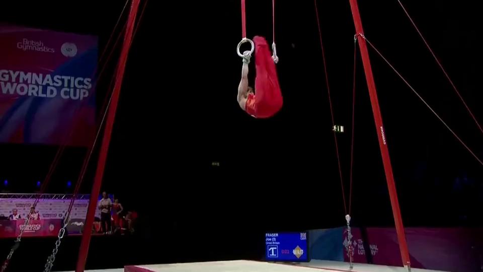 体操全能世界杯伯明翰站孙炜,吊环的姿势太优美啦