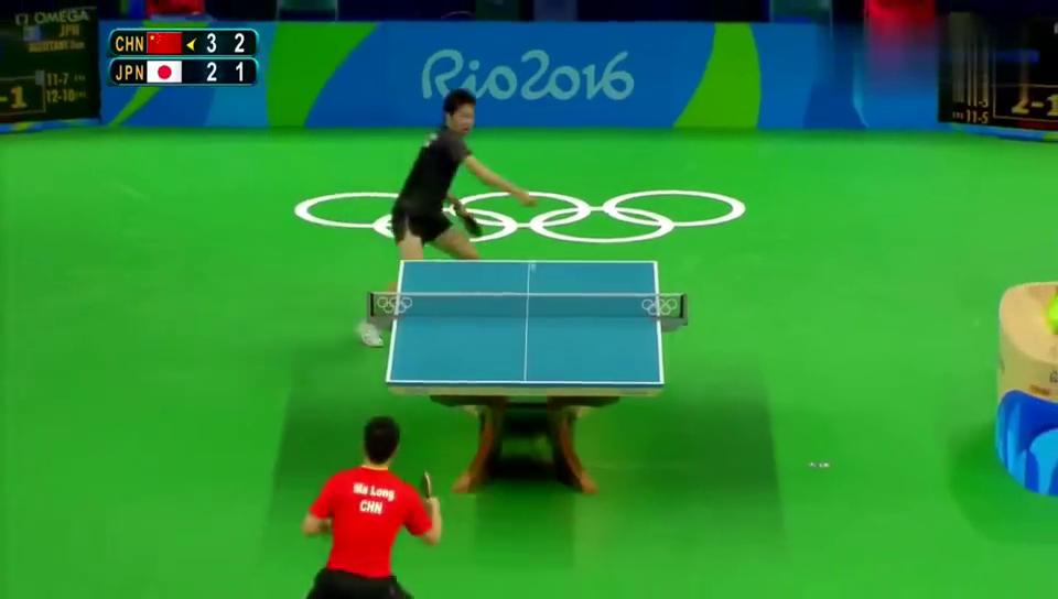 里约奥运会,马龙贡献最精彩一球,直接打爆水谷隼,全场观众沸腾