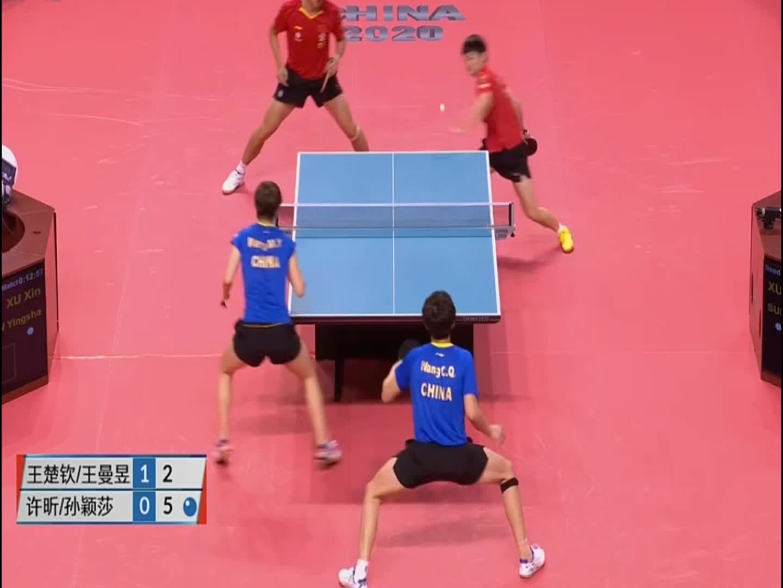 乒乓球东京模拟赛,许昕这个球接的很漂亮,王楚钦也实力很强