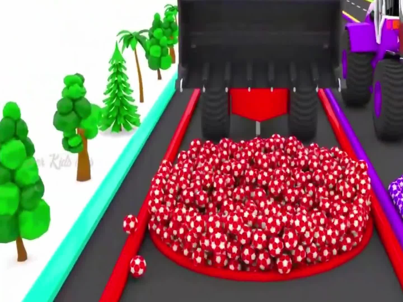 铲车推着小汽车,足球池染色,益智动画学颜色