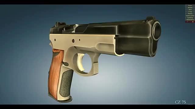 性能可靠的捷克CZ75手枪,3D动画演示它的工作原理!