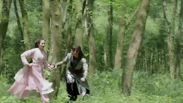 姑娘被妖魔追击,小伙为了保护姑娘,施法放出结界后重伤倒地