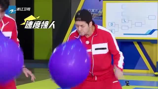 奔跑吧:用脸弹气球,王嘉尔被嫌口水多?baby弹球超动感