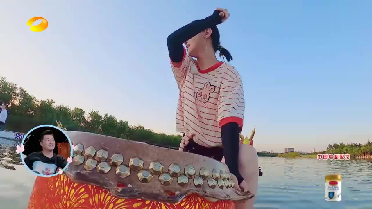 谢娜蔡少芬组队赛龙舟,吉娜鼓手变节奏大师,听她海口号浑身有劲