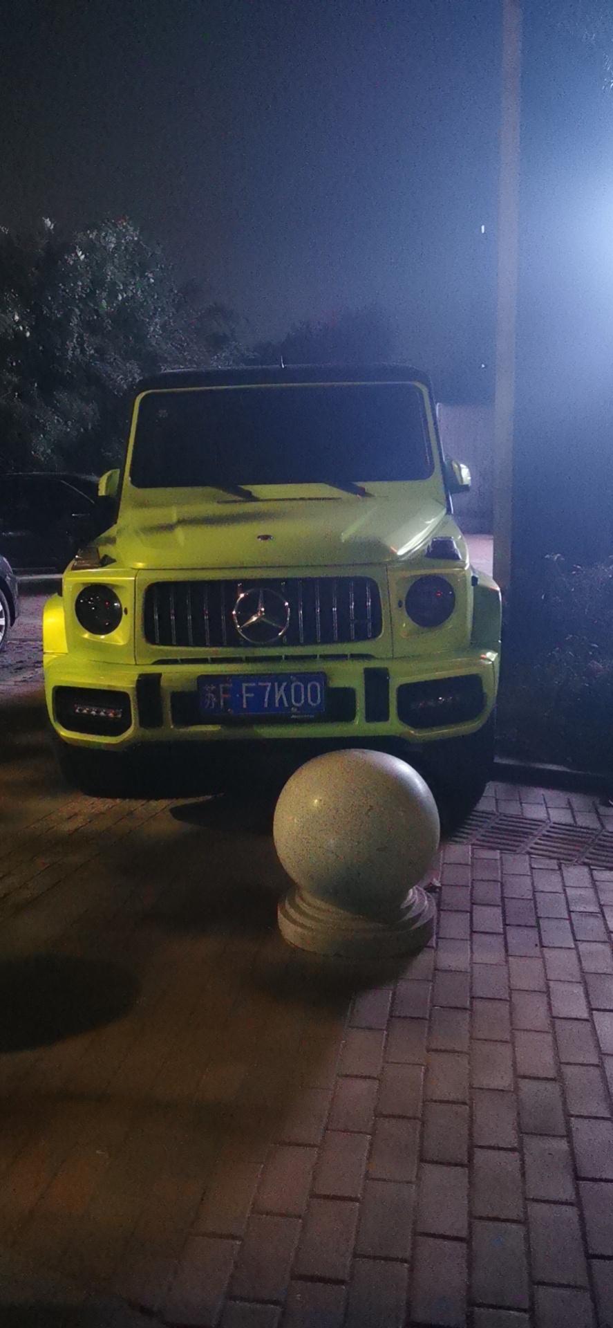 南通开发区街头实拍新款奔驰G63AMG,亮黄色车身相当拉风!