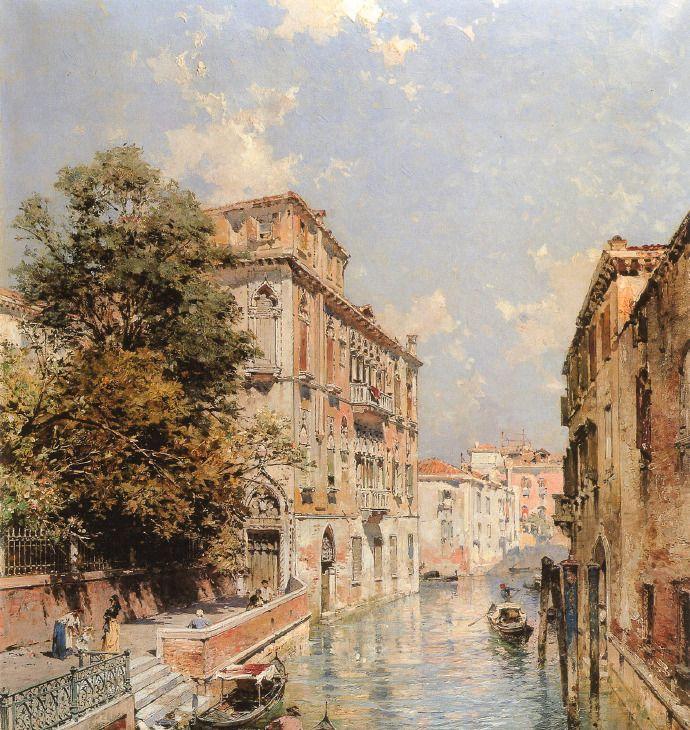 奥地利画家Franz Richard Unterberger笔下的水上威尼斯