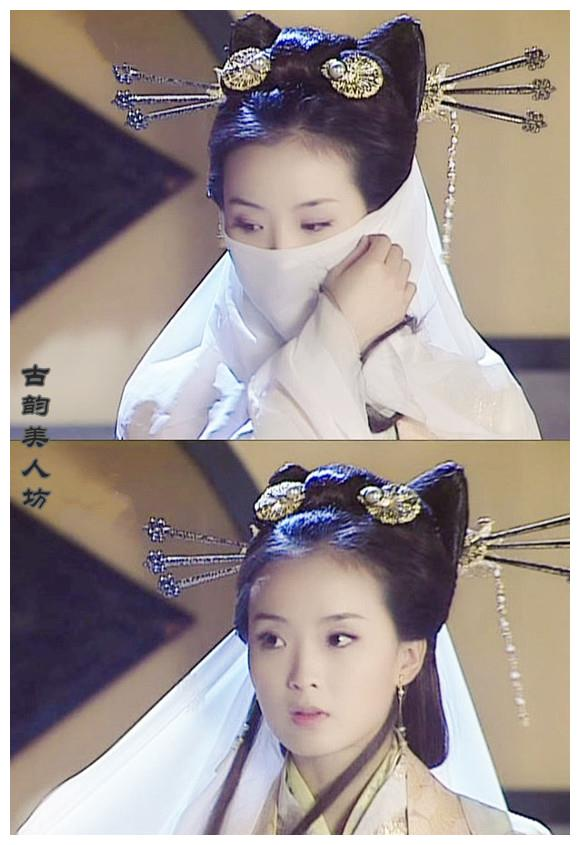 戴白色面纱的古装女子,钟欣潼高贵典雅,王艳温婉!