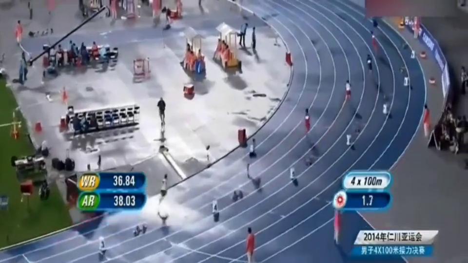 """4×100米中国队打破亚洲纪录,苏炳添祭出""""圆月弯刀""""力压对手"""