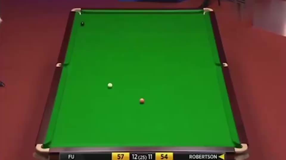 傅家俊拿到赛点后罗伯逊也紧张了 这颗黑球可是价值十多万呀!