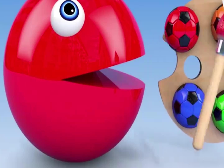 大球球被染色吃足球,益智动画学颜色