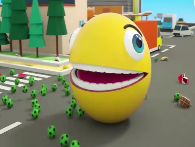大球球吃冰淇淋被追赶,益智动画学颜色