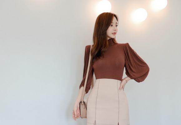 时尚穿搭孙允珠:约克领主苔原棕麂皮色雪纺裙