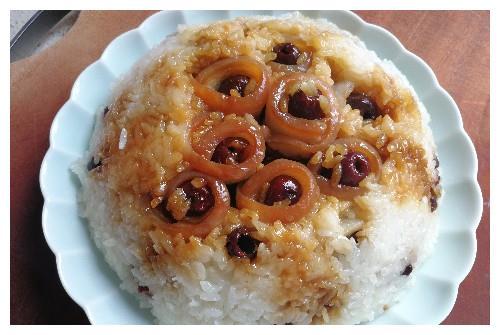 改良版四川名菜,龙眼甜烧白,感觉再加点料就成了八宝饭