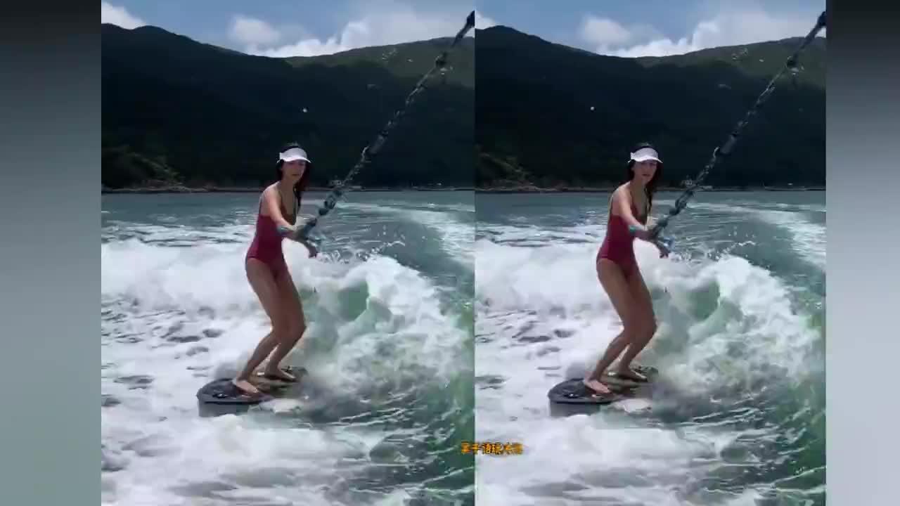 林峯前任吴千语晒冲浪视频,满屏细腰长腿抢镜,身材超火辣