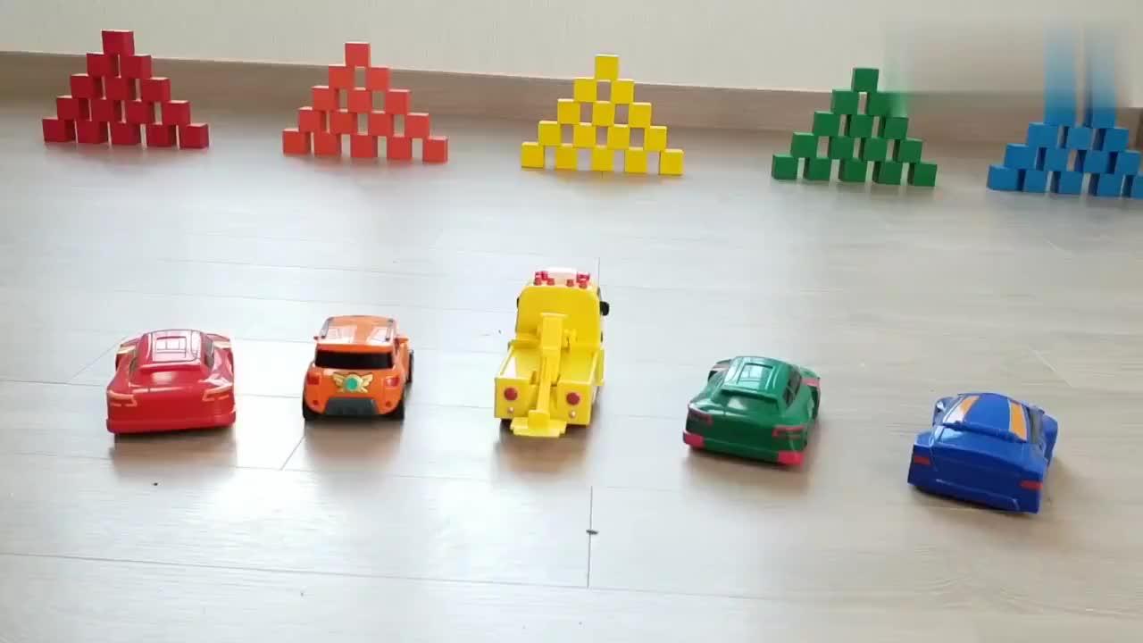 彩色小汽车玩积木方块
