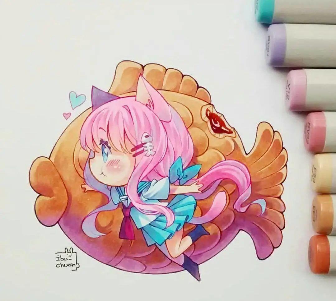 壁纸,马克笔手绘,可爱萝莉