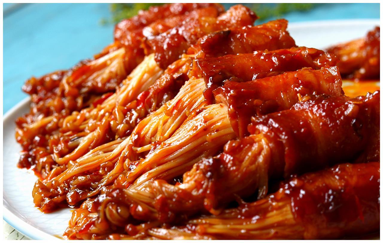 一口锅,15分钟就能做好,鲜香味美的金针菇肥牛卷,太下饭了