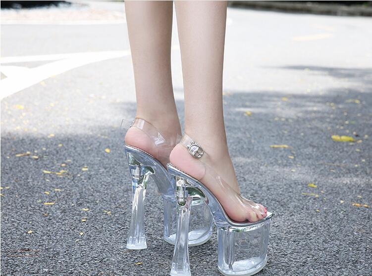 夜店走秀防水台高跟凉鞋,性感透明粗跟高跟鞋,时尚搭扣鱼嘴凉鞋