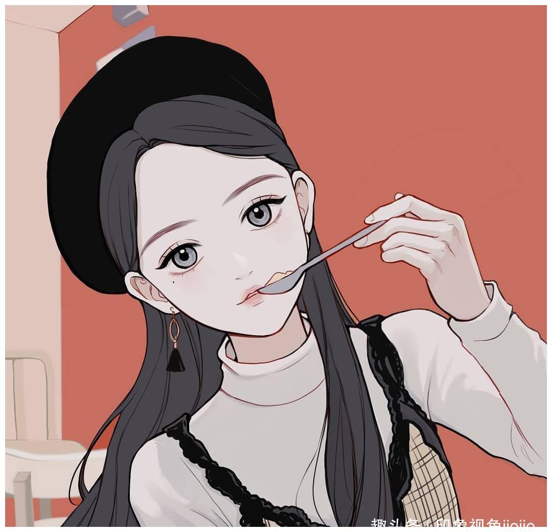 温婉的少女插画,透露着一种天真无邪的干净的喜悦,让人心生欢喜