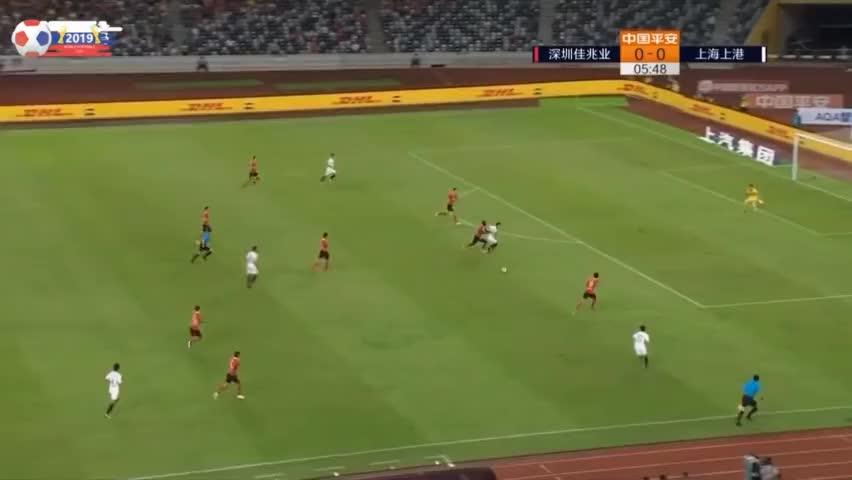 上港开场8分钟获得点球,胡尔克主罚点球被扑出