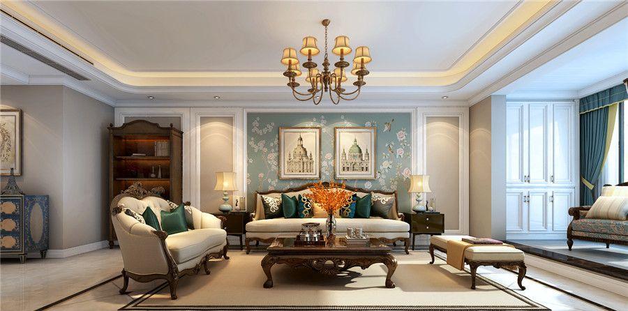 154平米美式风格装修效果图分享,客厅空间视野通透性很好