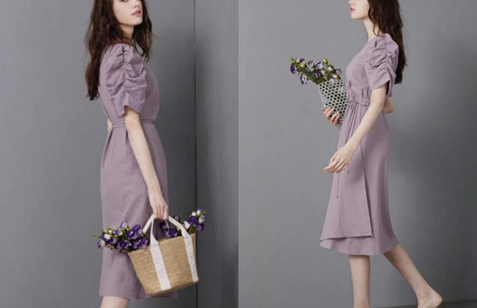 """今年最火的""""奶油紫色""""连衣裙,再配一双单鞋,造型真不错!"""