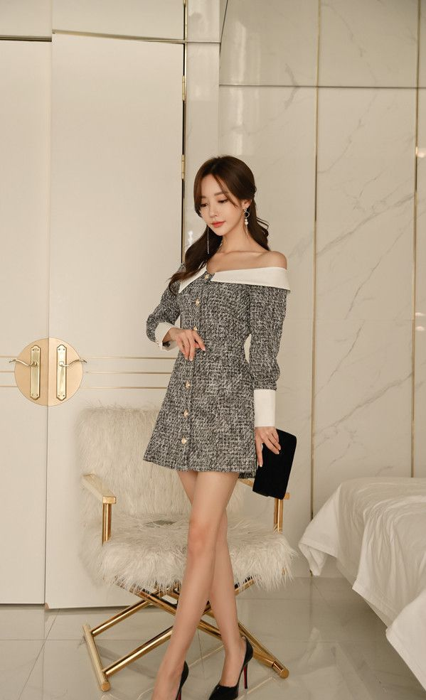 时尚女神孙允珠:法兰西舞伶宫廷华尔兹亚麻裙,衣服材质很有触感