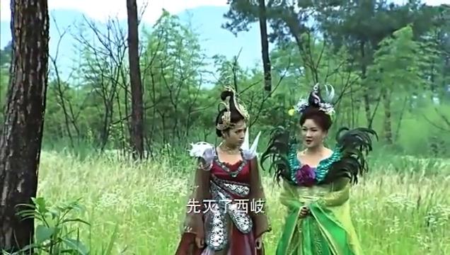 姜子牙和西岐大将来破九曲黄河阵,两个狐妖差点被抓