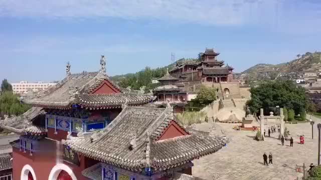 航拍米脂李自成行宫,古建与园林完美结合,可惜只住了三天