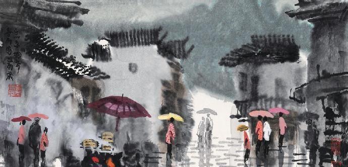 夜来微雨洗芳尘,公子骅骝步贴匀。夜雨国画作品