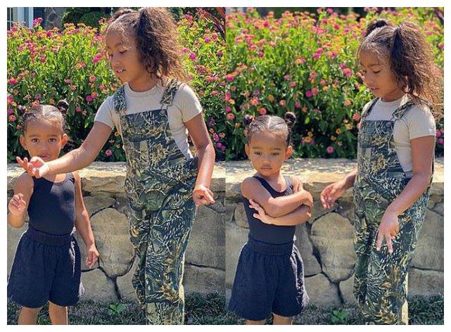 金·卡戴珊发萌照,7岁西北抱起2岁芝加哥可爱,网友却为她们难过