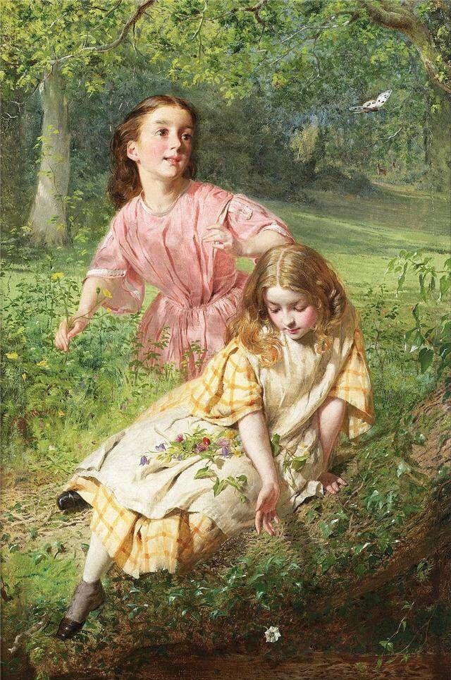 维多利亚时期英国画家乔治.希克斯,一幅幅人物肖像画,娇艳如花