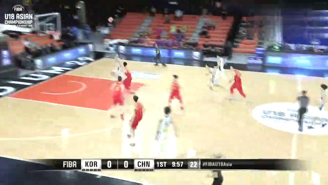 U18亚青赛中国vs韩国王泉泽爆砍20分23篮板个人集锦