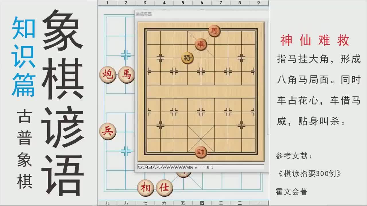 中国象棋谚语:车心马角,神仙难救