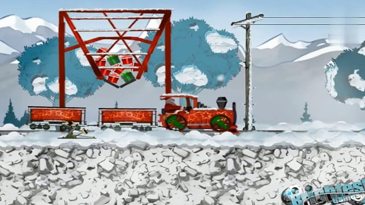 玩具小火车玩具视频之圣诞老人开小火车派送礼物动画视频