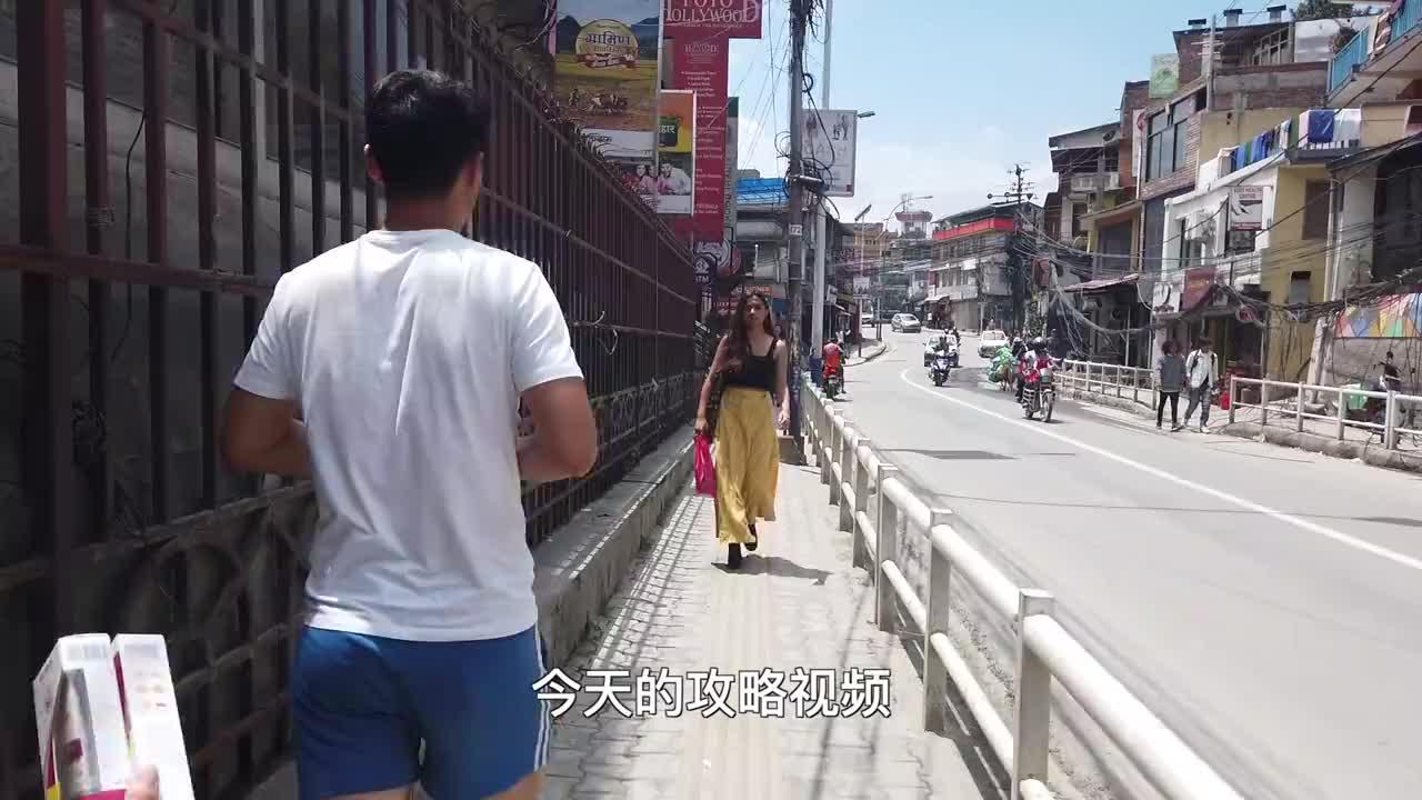 尼泊尔最繁华的街区,类似成都春熙路,不注意还以为在国内!
