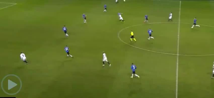 京多安长传送助攻,维尔纳晃开防守球员抽射破门