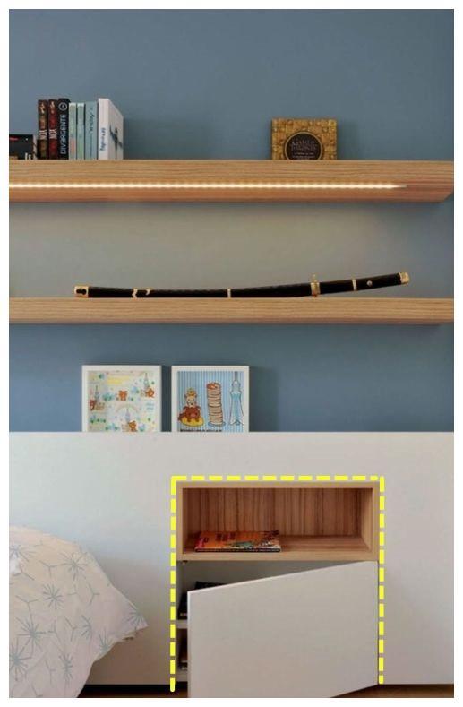 砌30公分假墙,内嵌床头柜太有远见了,侧面还可轻松放下婴儿床!